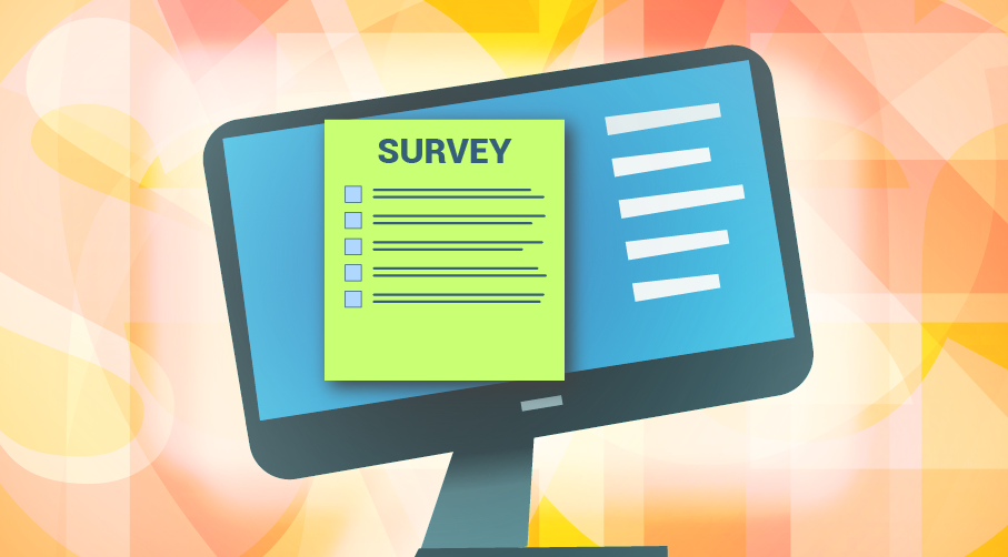 computer with survey form