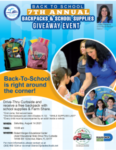 District 7 Backpacks and School Supplies Drive-Thru @ Robert Morgan Education Center (Adult Education Side)   Miami   Florida   United States